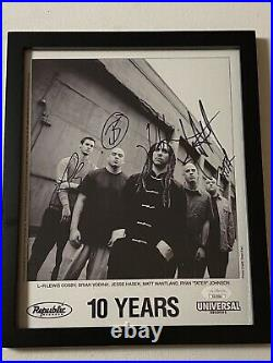 10 Years Band Autographed Signed Framed Very Rare Promo Photo Jsa Coa # Ss27864