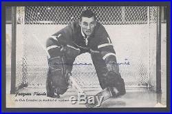 1958-59 Jacques Plante Autographed Molson Promo Photo Guaranteed Psa/dna Jsa