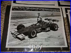 4 Vintage 70's Promo Photos, Revson Autograph, Penske, 1972 Indy 500 Donohue, Sunoco
