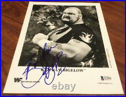 BAM BAM BIGELOW SIGNED 8x10 PROMO PHOTO 1993 WRESTLING WWE WWF BECKETT BAS