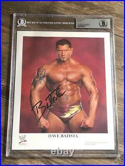 Batista Signed Autographed Original 8x10 Wwf Promo Photo Beckett Bas Slabbed 10