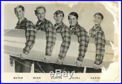 Beach Boys Vintage Group Signed 4x6.5 Promo Photo Beckett BAS