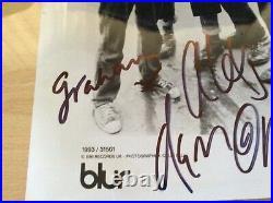Blur Fully Signed Glossy B/w Promo Photo Damon, Alex Graham And Dave Brit Pop