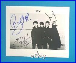 Bono Edge Larry X3 Signed U2 Vintage 8x10 Promo Photo Certified With Jsa Coa