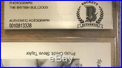British Bulldogs Signed 8x10 Promo Photo WWF BAS Davey Boy Smith Dynamite Kid