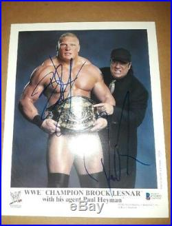Brock Lesnar 2002 Orig Signed Autographed Wwf Promo Photo Vintage Bas Certified