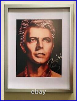 David Bowie SIGNED Blue Jean 8x10 Promo photo FRAMED with Pass and COA
