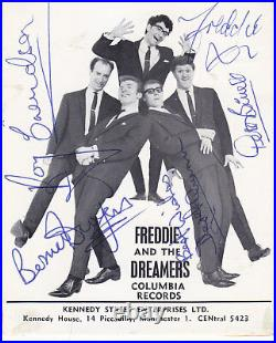 Freddie and The Dreamers signed vintage promo card British Invasion Beatles