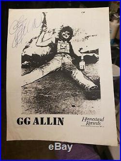 GG Allin- Authentic Autographed 8x10 Promo Photo 1987-88
