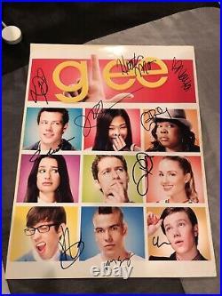 Glee Cast Autographed Promo Cory Monteith Naya Rivera RARE WITH PHOTO PROOF