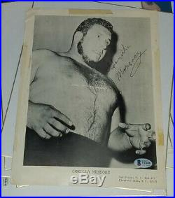 Gorilla Monsoon Rare Signed 8x11 Wrestling Promo Photo WWF Autograph BAS COA