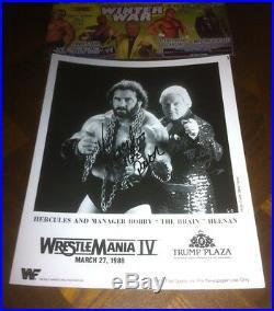 Hercules, Bobby Heenan, Signed, WWE, WWF, Wrestlemania 4, Wrestling Promo Photo, RARE