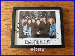 Iron Maiden Official FC Framed Autograph / Fully Signed PROMO Photograph