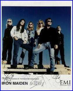 Iron Maiden Signed x 6 Promo Photo EMI 1999 Genuine