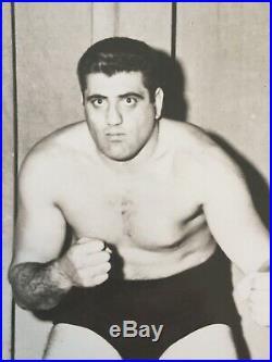 Lenny Montana RARE Signed Wrestling B/W Promo Photo The Godfather Luca Brasi BAS