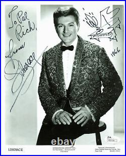 Liberace Authentic Signed B&W 8x10 Promo Photo with Piano Sketch JSA #R20168