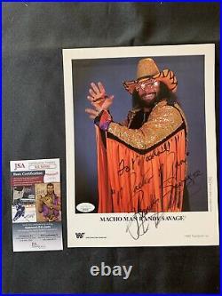 MACHO MAN RANDY SAVAGE Rare FULL SIGNATURE Signed ORIGINAL WWF PROMO withJSA COA