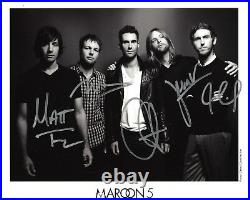MAROON 5 BAND SIGNED 8x10 GROUP PROMO PHOTO x5 withCOA B/W ADAM LEVINE