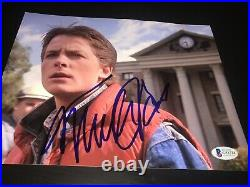 MICHAEL J FOX SIGNED AUTOGRAPH 8x10 PHOTO BACK TO THE FUTURE PROMO BECKETT BAS D