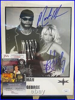 Macho Man Randy Savage & Gorgeous George Autographed WCW Promo Photo JSA COA WWF