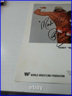 Macho Man randy savage Printed Autograph 1987 wwf original promo photo