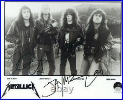 Metallica Fully Signed Elektra Promo Photo X4 Full Coa Real Roger Epperson