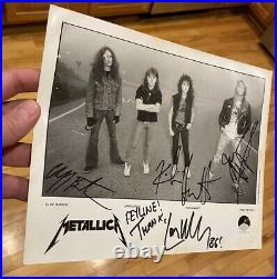 Metallica signed Master of Puppets era promo photo with Cliff Burton & drumstick