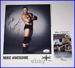 Mike Awesome Hand Signed Wcw Promo Photo With Jsa Coa Ecw