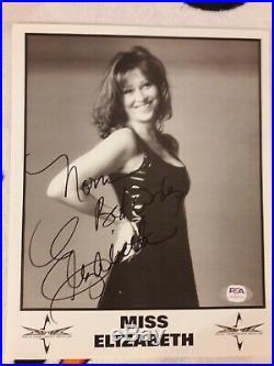 Miss Elizabeth Signed Wcw Promo Photo Psa Coa Macho Man Randy Savage Wwe Wwf