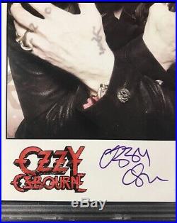 OZZY OSBOURNE Autographed Record Label 5x8 Promo Photo PSA SLABBED