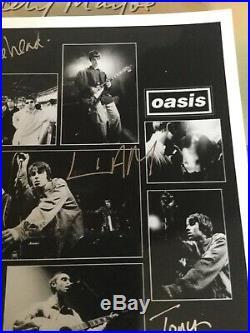 Oasis rare original hand signed promo photo for definitely maybe original line u