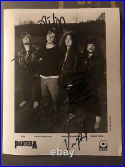 Pantera Signed 1991 8x10 Promo Photo Vinnie Paul Dimebag Darrell Autographed