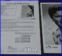 Patsy Cline Signed Decca Promo Photo JSA Certification Letter Autographed COA
