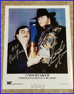 Paul Bearer & Undertaker dual SIGNED 1994 Reprint Promo Wrestling WWE WWF WCW