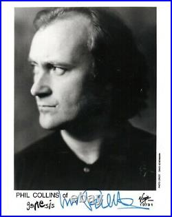 Phil Collins Genesis Hand Signed 10x8 B/W Music Promo Photo Autographed