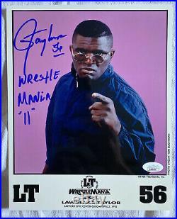 RARE Signed 1995 Lawrence Taylor LT WrestleMania XI WWF PROMO Photo JSA COA