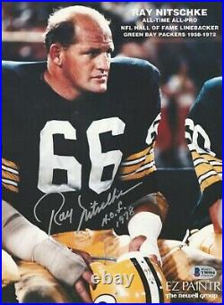 RAY NITSCHKE Signed GREEN BAY PACKERS PROMO with Beckett COA & HOF Inscrip