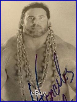 Rare Hercules Hernandez Autographed Signed 5x7 Promo Photo Wwf Wwe Wcw Ecw Awa