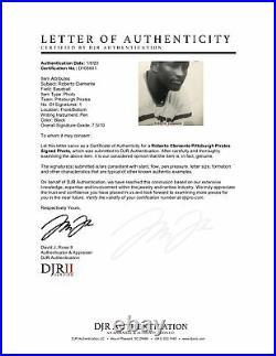 Roberto Clemente Pirates Signed B/W Vintage Promo Photo Framed AUTO DJR LOA