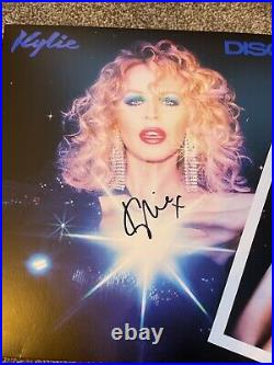 SIGNED Kylie Minogue Blue Disco Vinyl Plus Autographed Promo Photo Rare