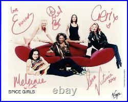 SPICE GIRLS Fully Hand Signed 10x8 Col Virgin Records Promo Photo Autographed