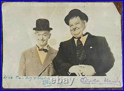 Stan Laurel Signed Promo Photo 1950's With Stamped Oliver Hardy Fab Autograph