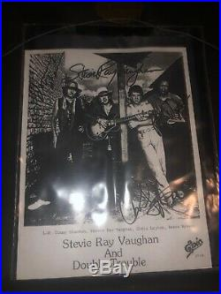 Stevie Ray Vaughan and Double Trouble Signed Promo Photo with Custom Frame