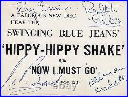 Swinging Blue Jeans signed vintage promo card Hippy Hippy Shake British Invasion