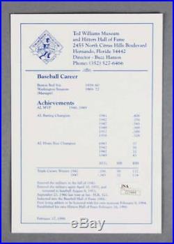Ted Williams Signed Promo Card Red Sox LE 3/20 COA JSA