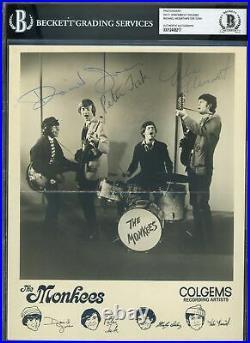 The Monkees (4) Jones, Dolenz, Nesmith & Tork Signed 8x10 Promo Photo BAS Slab
