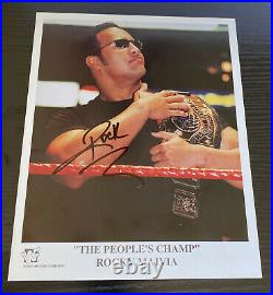 The Rock Rocky Maivia signed 8x10 Promo photo WWE WWF Dwayne Johnson JSA COA