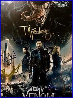 Todd McFarlane, TOM HARDY, Venom CAST Signed Promo Movie 11 x 14 Poster COA proof