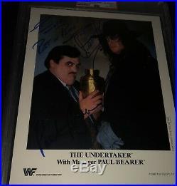 UNDERTAKER PAUL BEARER Dual Signed WWF Promo 1992 8x10 Photo PSA WWE AUTO