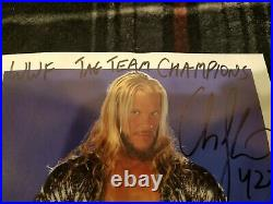 VERY RARE Chris Jericho and Chris Benoit signed wwf promo photo tag team wwe wcw